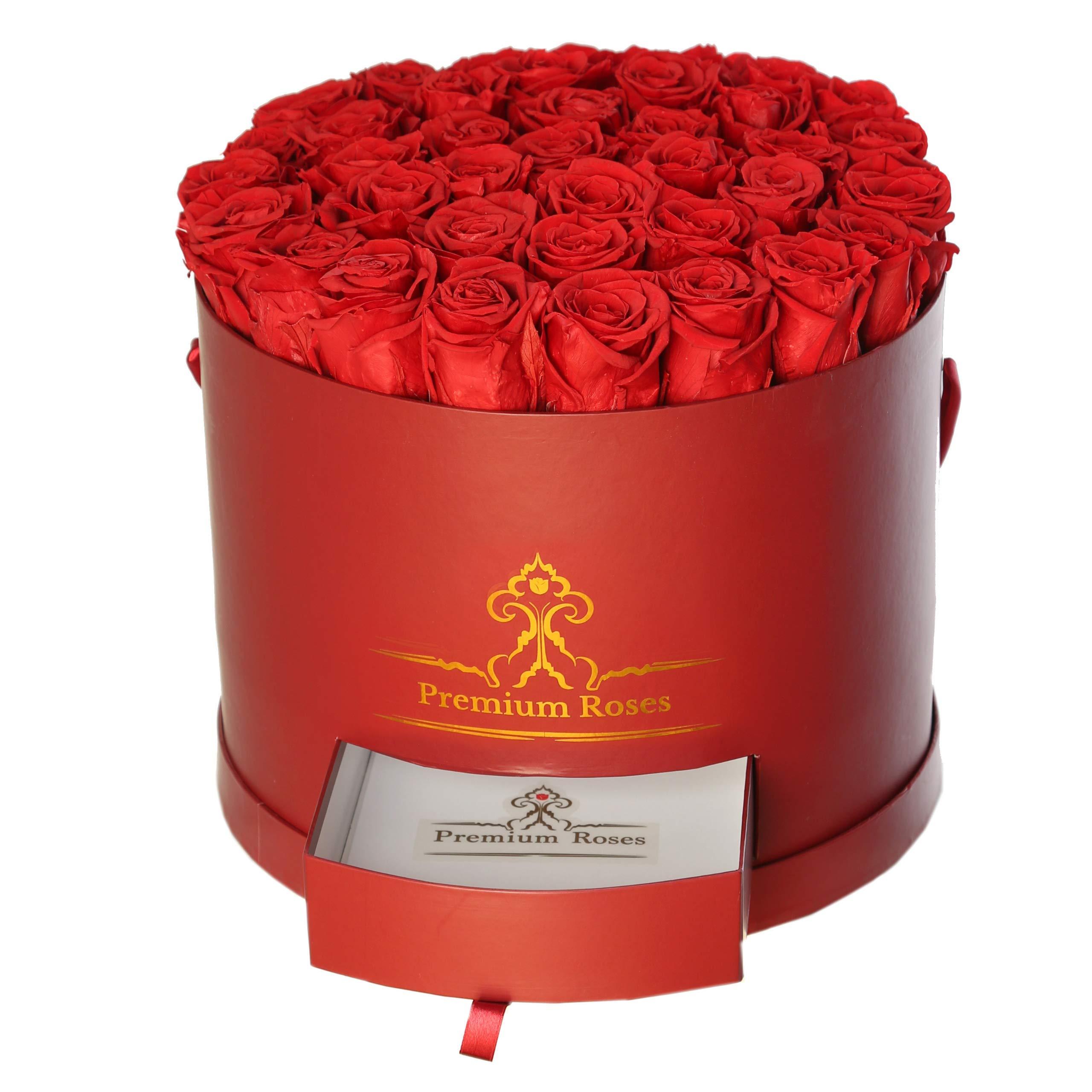Premium Roses| Model Burgundy| Real Roses That Last 365 Days| Fresh Flowers (Burgundy Box, Large)