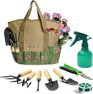 17 Pieces Garden Tools Set, Heavy Duty Gardening Hand Tool Kits with Sturdy Fabric Storage Bag, Gardening Set Planting Weeding Trimming Loosening Transplanting, Gardening Gifts for Women