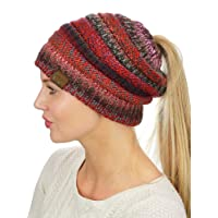 C&C BeanieTail Soft Stretch Cable Knit Messy High Bun Ponytail Beanie Hat