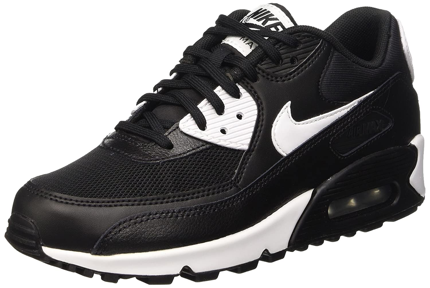 innovative design e95a0 18417 Amazon.com   Nike Womens Air Max 90 Essential Black White Metallic Silver  Running Shoe, US 8   Running