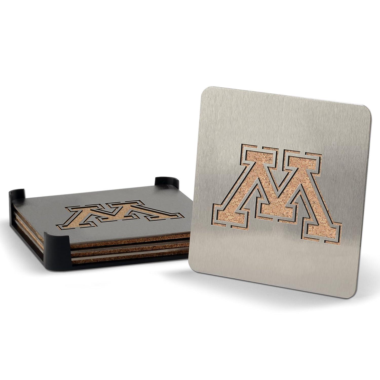 YouTheFan NCAA Minnesota Golden Gophers 4-Piece Stainless Steel Boaster Drink Coaster Sportula 7015880