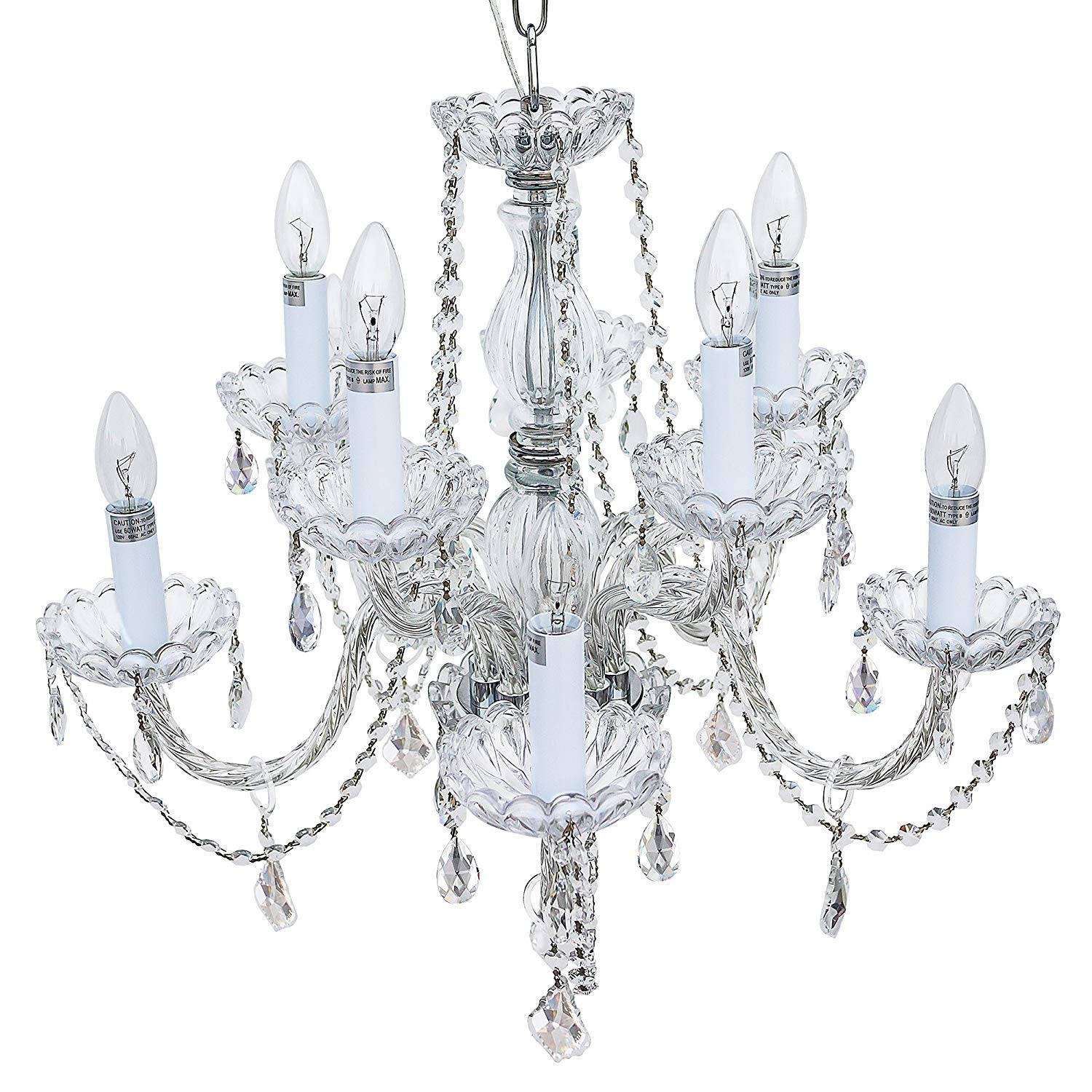 Starthi 10-Light Crystal Chandelier Candle Light Antique Ceiling Light with Clear Crystal K9 Beads, Metal Frame H 22'' W 25''