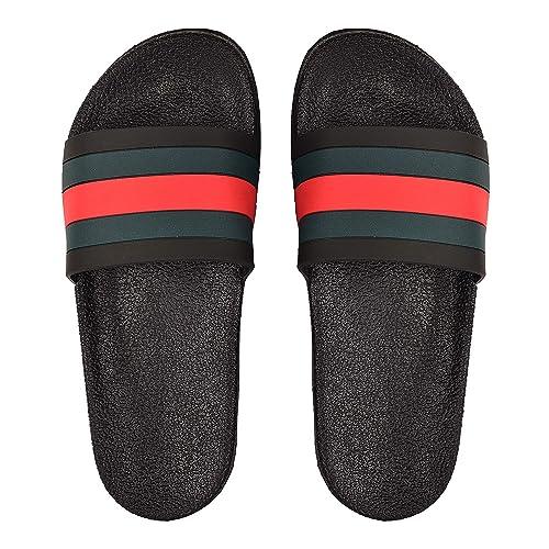 b62a05f14f78 DRUNKEN Women s Red-Black Rubber Stripped Slide Flip Flop Slippers -UK IND 3