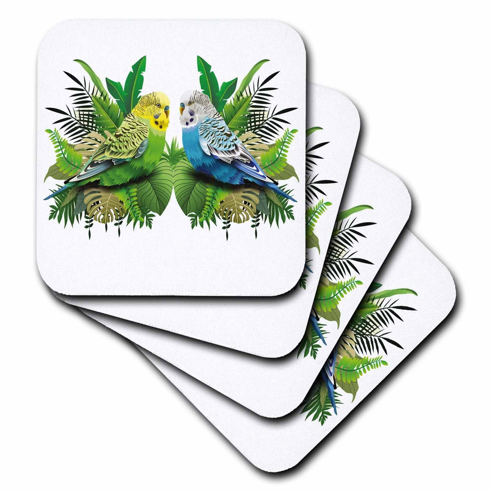 3dRose Sven Herkenrath Animal - Two Budgies Parakeets Sitting in Love in the Bush Jungle - set of 4 Coasters - Soft (cst_280373_1)