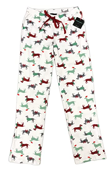 3c816e40d81b Holiday Red Green   Grey Dachshund Dogs Novelty Elastic Drawstring  Christmas Sleepwear Lounge Pajama Pants (