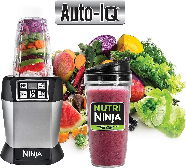 Ninja Auto-iQ Nutri Ninja Licuadora, Platino | BL480 (Renewed ...