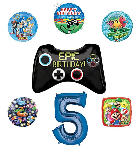 Video Gamers 5th Birthday Party Supplies And Balloon Decorations Sonic Super Mario Pac