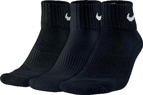 Nike 3PPK Cushion Quarter, Calcetines unisex, paquete de 3 unidades, Blanco / Negro