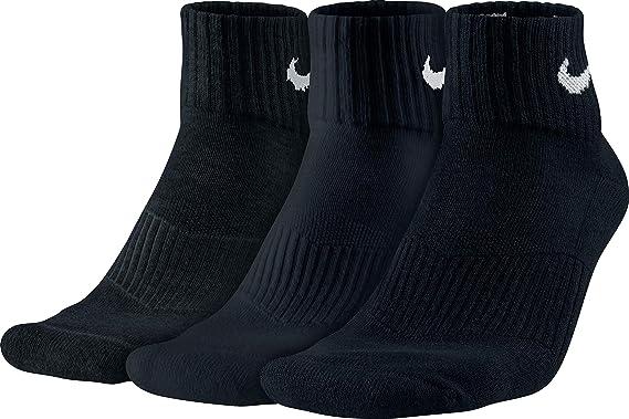 Nike 3PPK Cushion Quarter, Calcetines unisex, paquete de 3 unidades, Blanco / Negro, S (34-38)