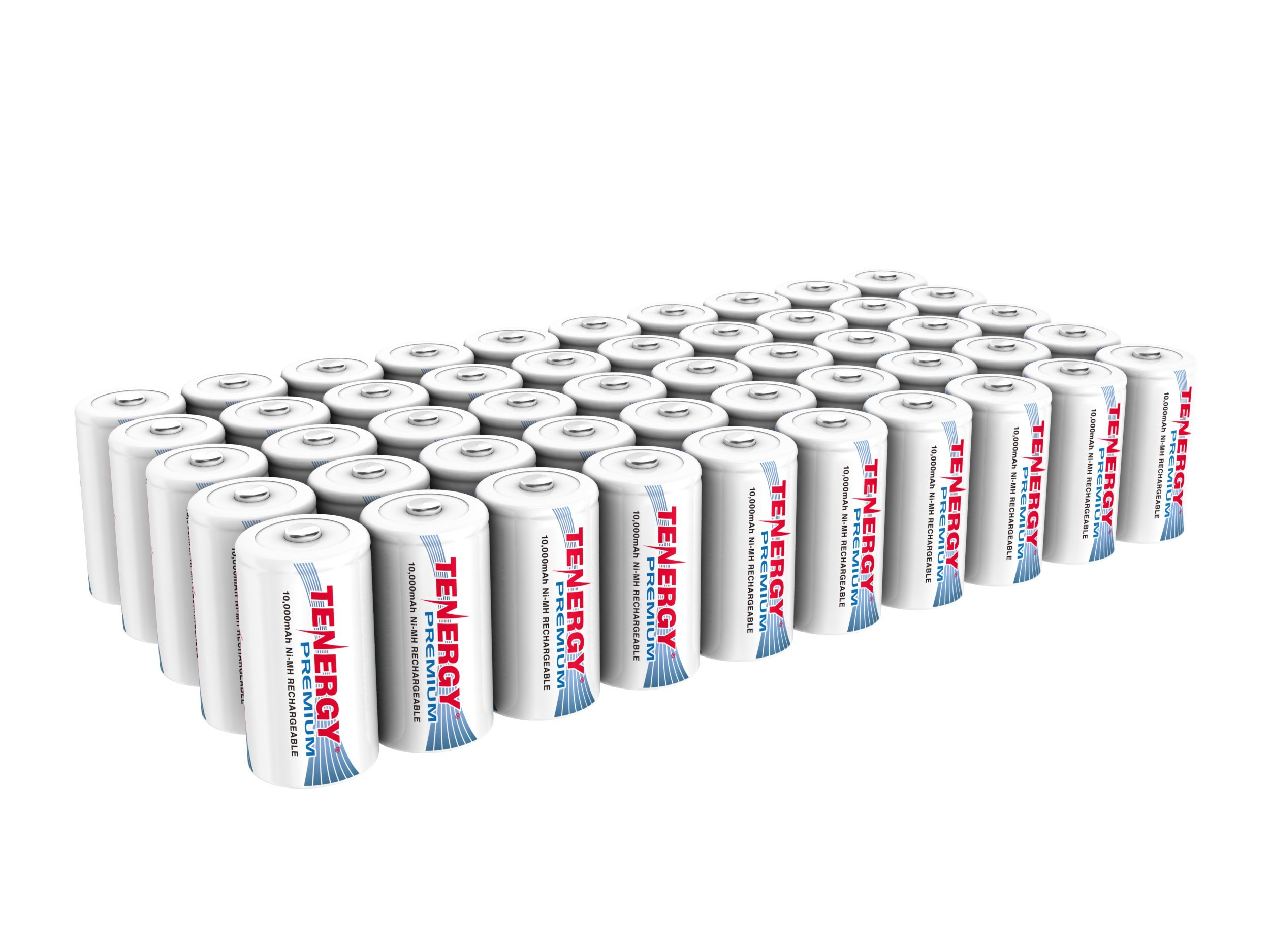 SAVING COMBO: 50 pcs of Tenergy Premium D Size 10,000mAh High Capacity High Rate NiMH Rechargeable Batteries by Tenergy
