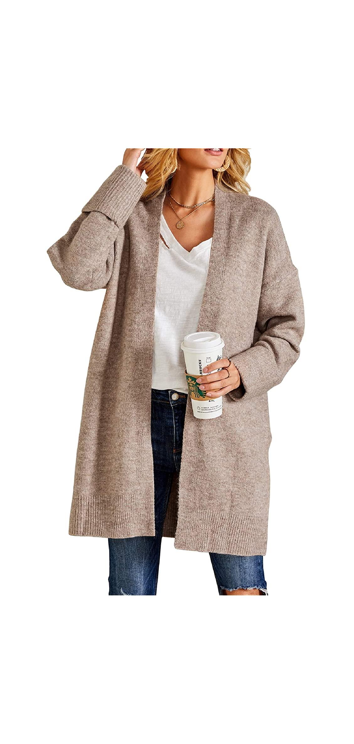 Women Chunky Sweaters Boyfriend Baggy Cardigan Slouchy
