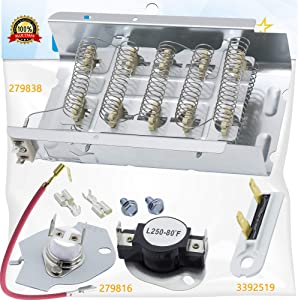 UPGRADED 279838 Dryer Heating Element, 3392519 Thermal Fuse and 279816 Thermal Cut-off Fuse Kit Replacement by BlueStars- Exact Fit For Whirlpool & Kenmore Dryers - Replaces 3403585 279816VP
