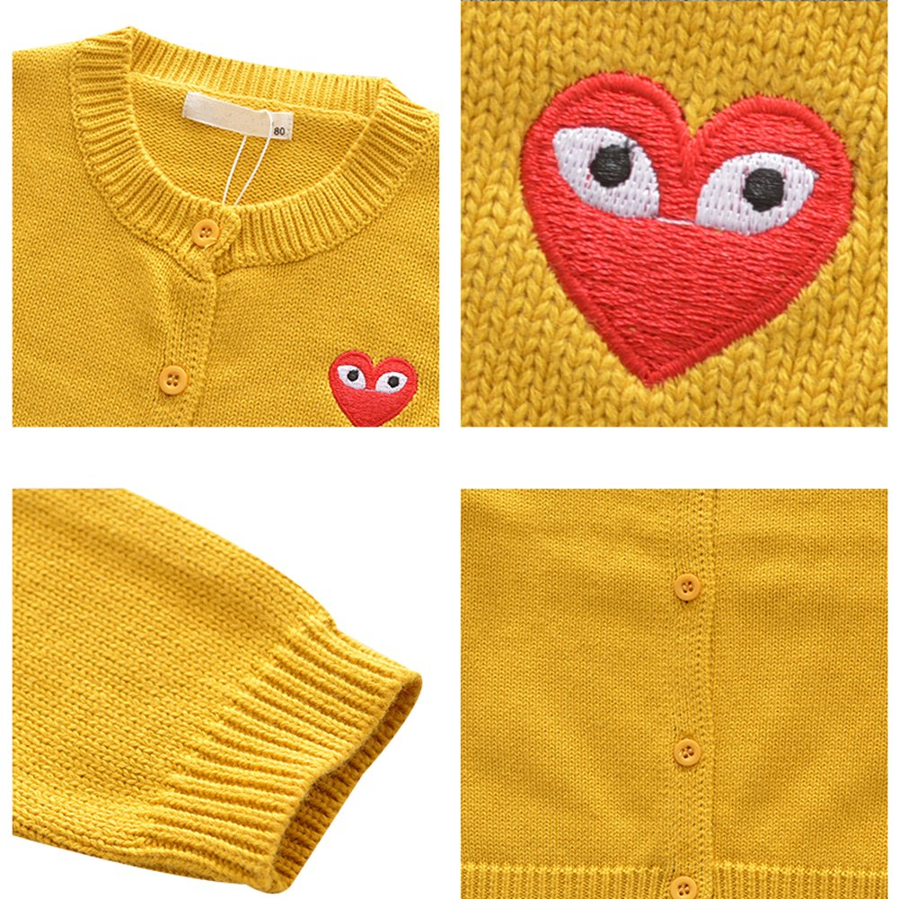 Happy childhood Baby Boys Girls 1-5 Years Sweater Cardigans Cotton Knit Sweater Red//Black//Grey//Yellow