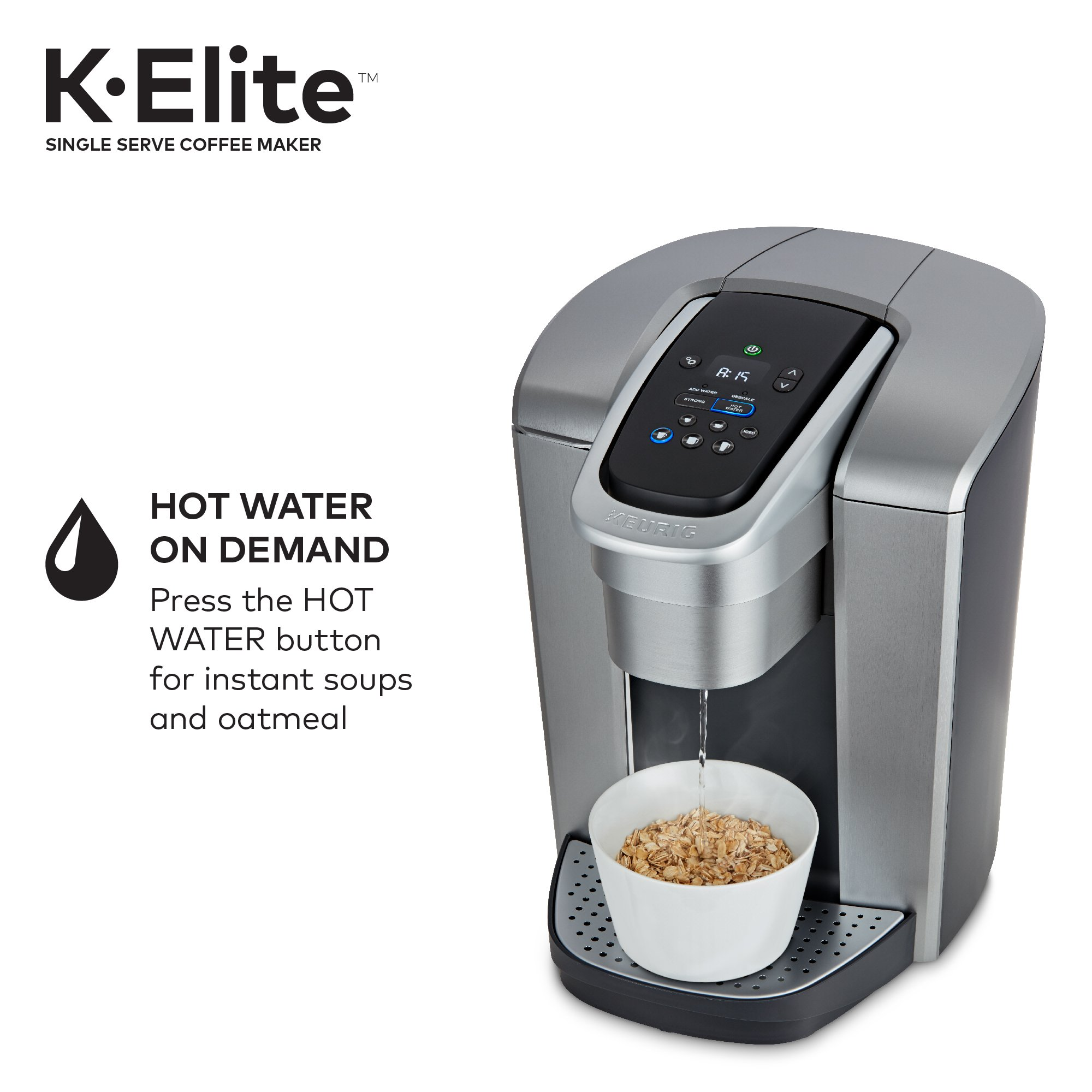 Keurig K-Elite K Single Serve K-Cup Pod Maker, with Strong Temperature Control, Iced Coffee Capability, 12oz Brew Size, Programmable, Brushed Silver by Keurig (Image #4)