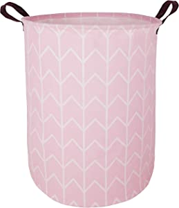 HUAYEE 19.6 Inches Large Laundry Basket Waterproof Round Cotton Linen Collapsible Storage bin with Handles for Hamper Kids Room,Toy Storage(Pink)