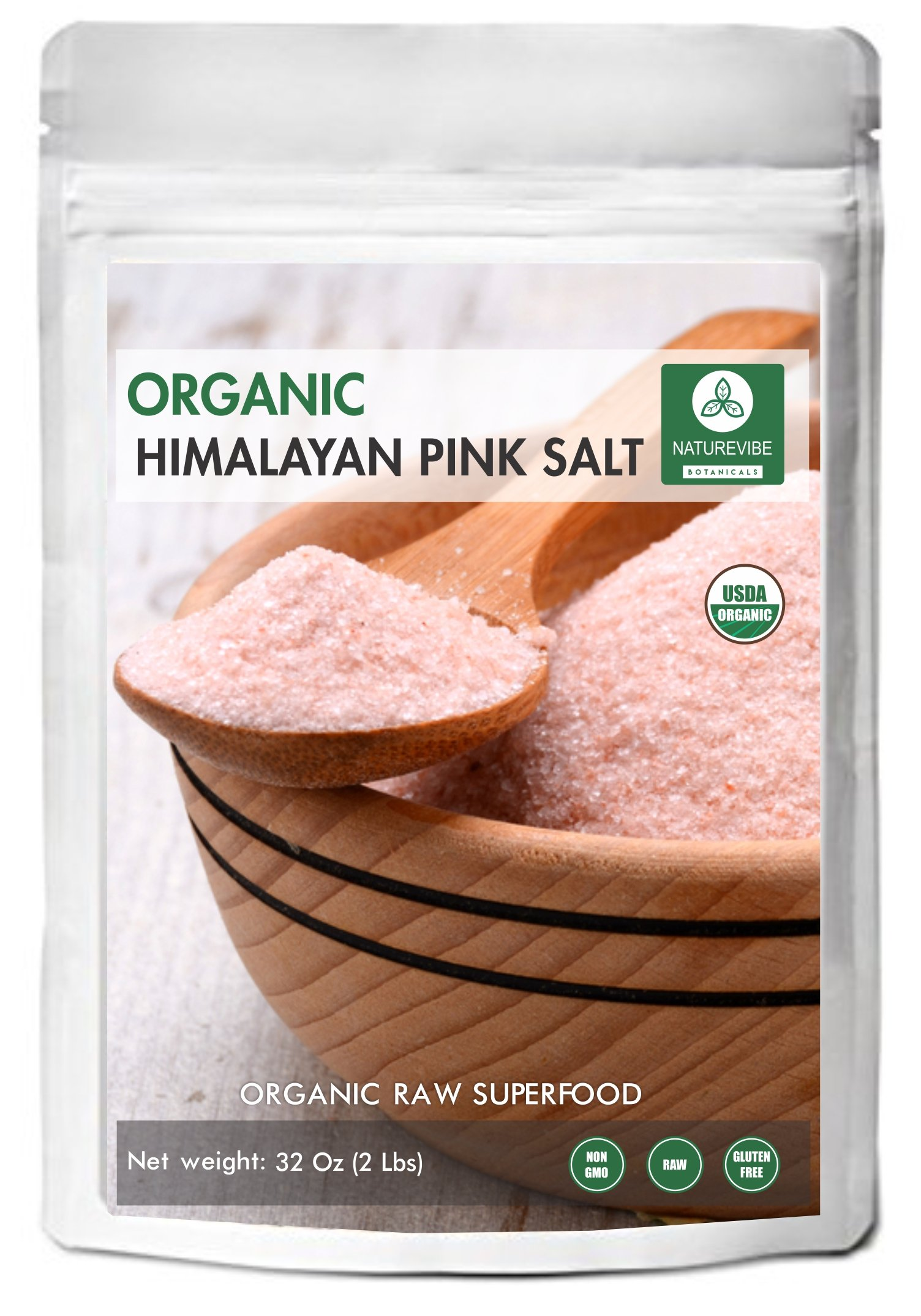 100% Natural & Healthy Himalayan Pink Salt (2lb) by Naturevibe Botanicals, Gluten-Free & Non-GMO (32 ounces) (Fine - Cooking Size)