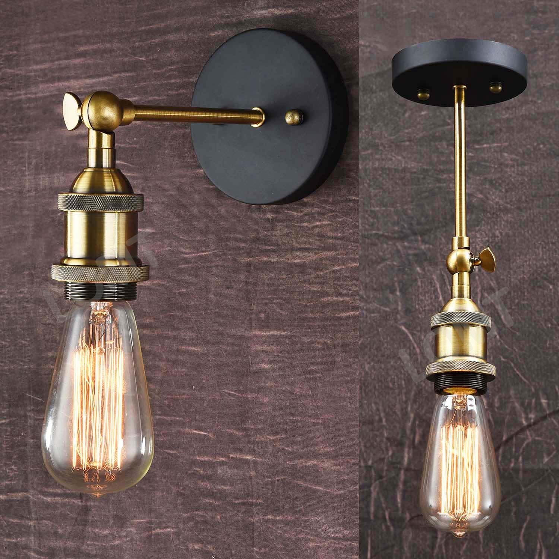 Lámpara de techo o pared, plegable, estilo moderno, vintage e industrial, bronce metálico LOMT