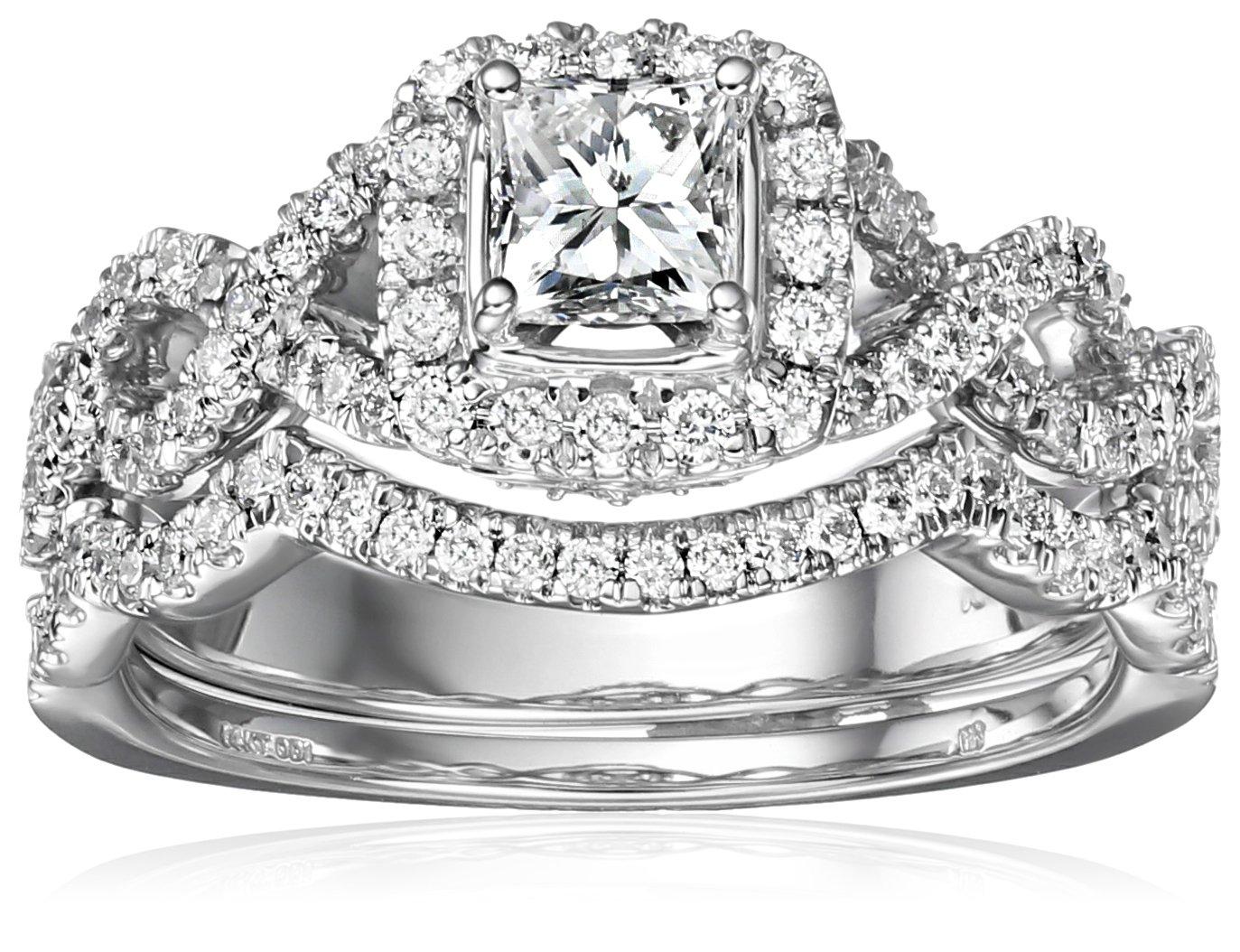 IGI Certified 14k White Gold Diamond Halo Infinity Twist Bridal with Princess-Cut Center Wedding Ring Set (1 cttw, H-I Color, I1-I2 Clarity), Size 7
