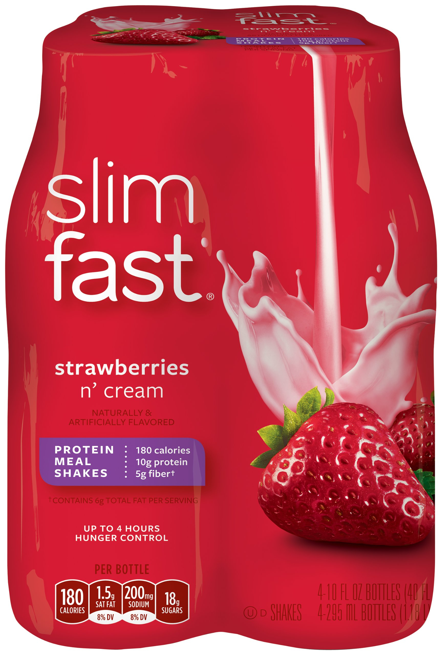 SlimFast Strawberries and Cream Ready to Drink Shakes, 10 Ounce (Pack of 24) by SlimFast