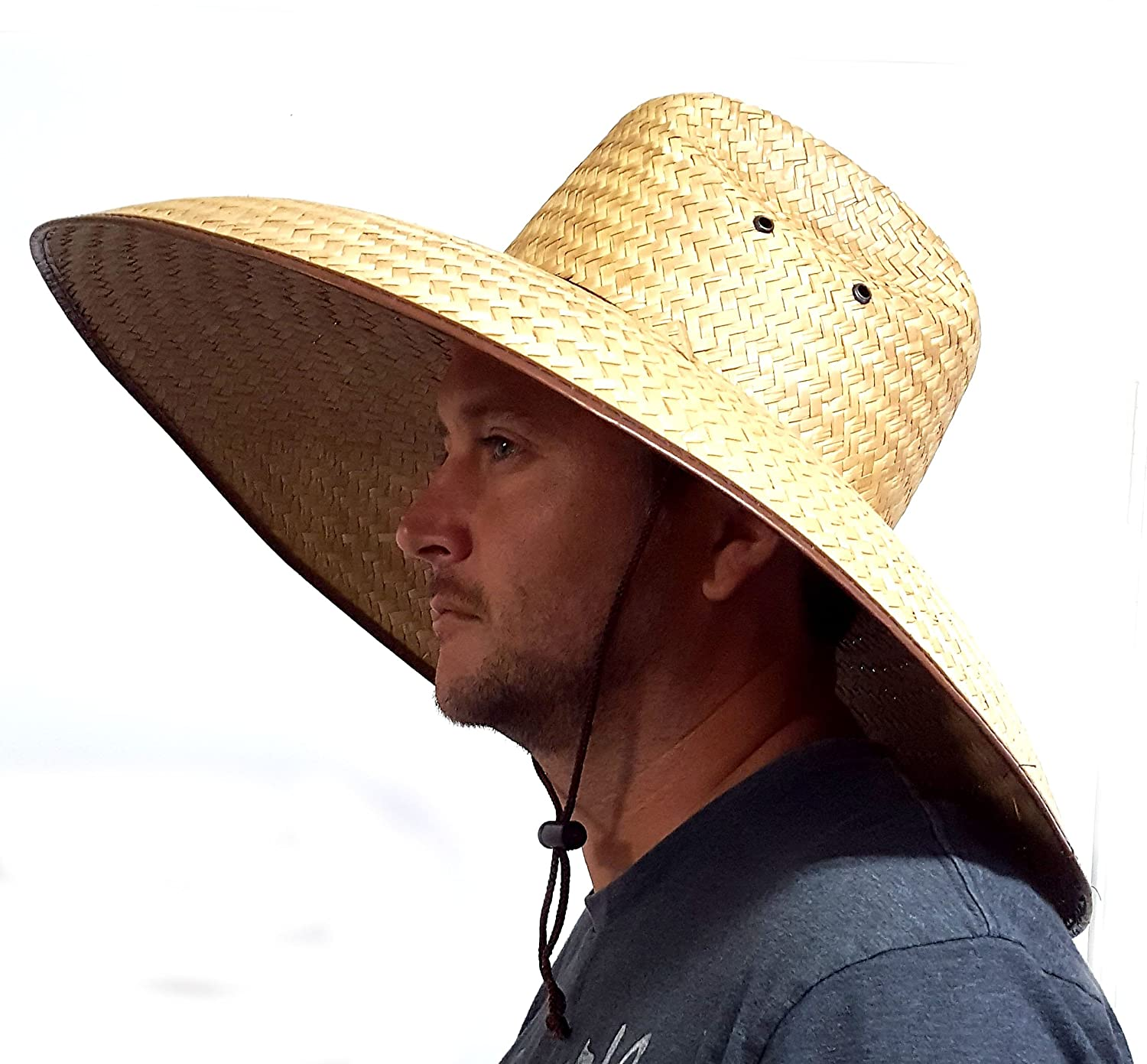 c03af6f0 Amazon.com: Voyager Tools Double Weaved Hard Shell Shade Hat Large Fit Wide  Brim Straw Hat: Clothing