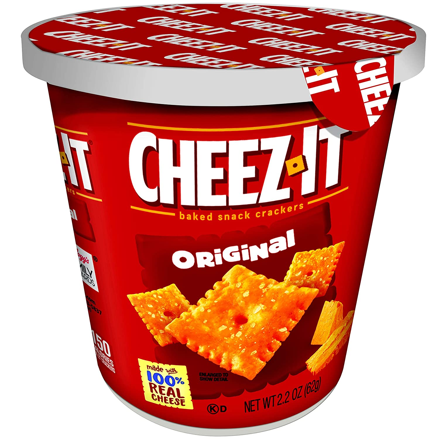 Cheez-It Baked Snack Cheese Crackers in a Cup, Original, Single Serve, 2.2 oz(Pack of 10) Kellogg Company 2410057466