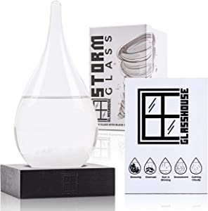 Glasshouse Storm Glass Weather Predictor with Black Wooden Base | Decorative Barometer Bottle | Weather Station | Water Droplet Design | Unique Home Decor and Gift | (Small)