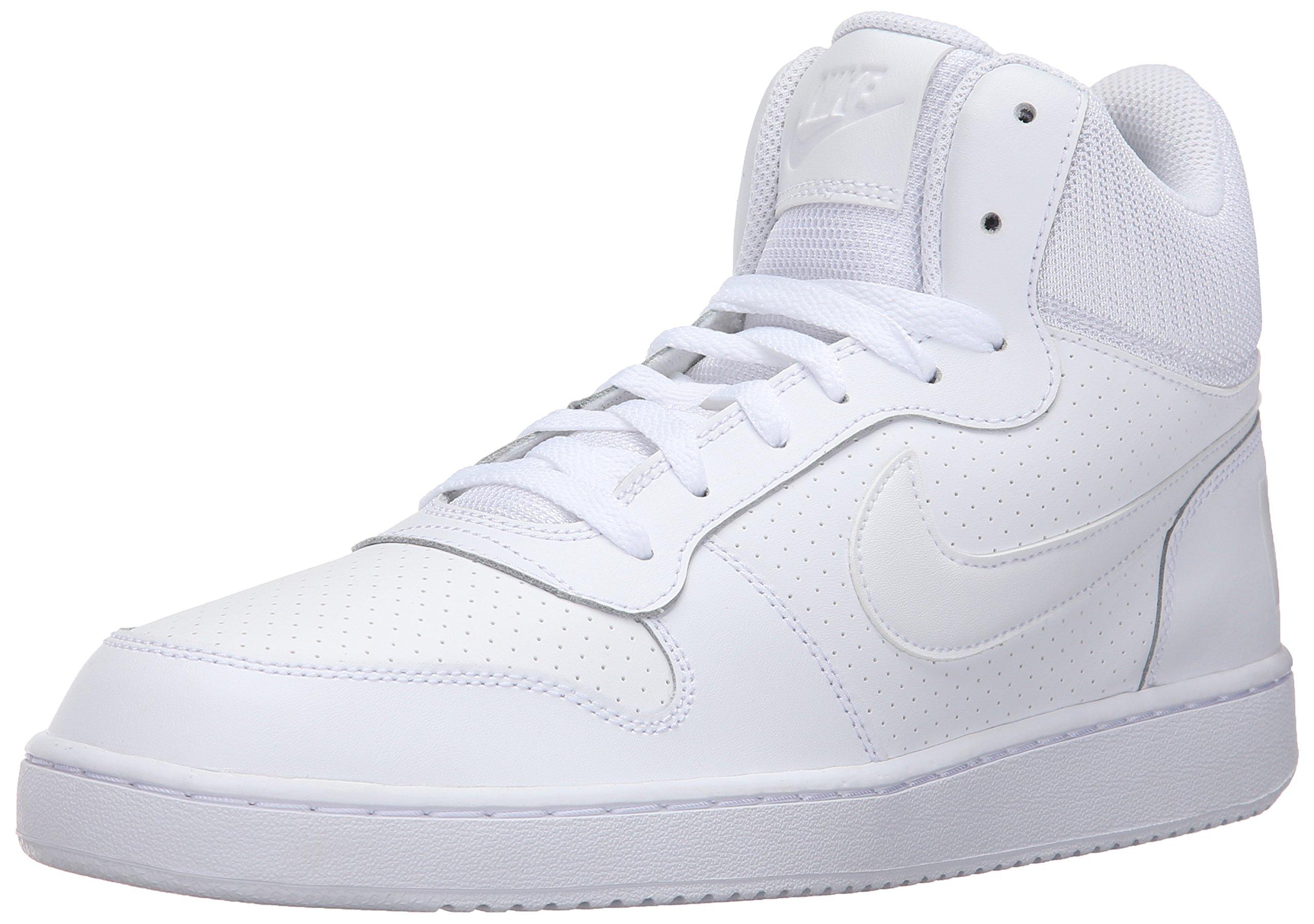 8a57a7b4acddd Galleon - NIKE Men's Court Borough Mid Basketball Sneaker,  White/White/White, 9 D(M) US