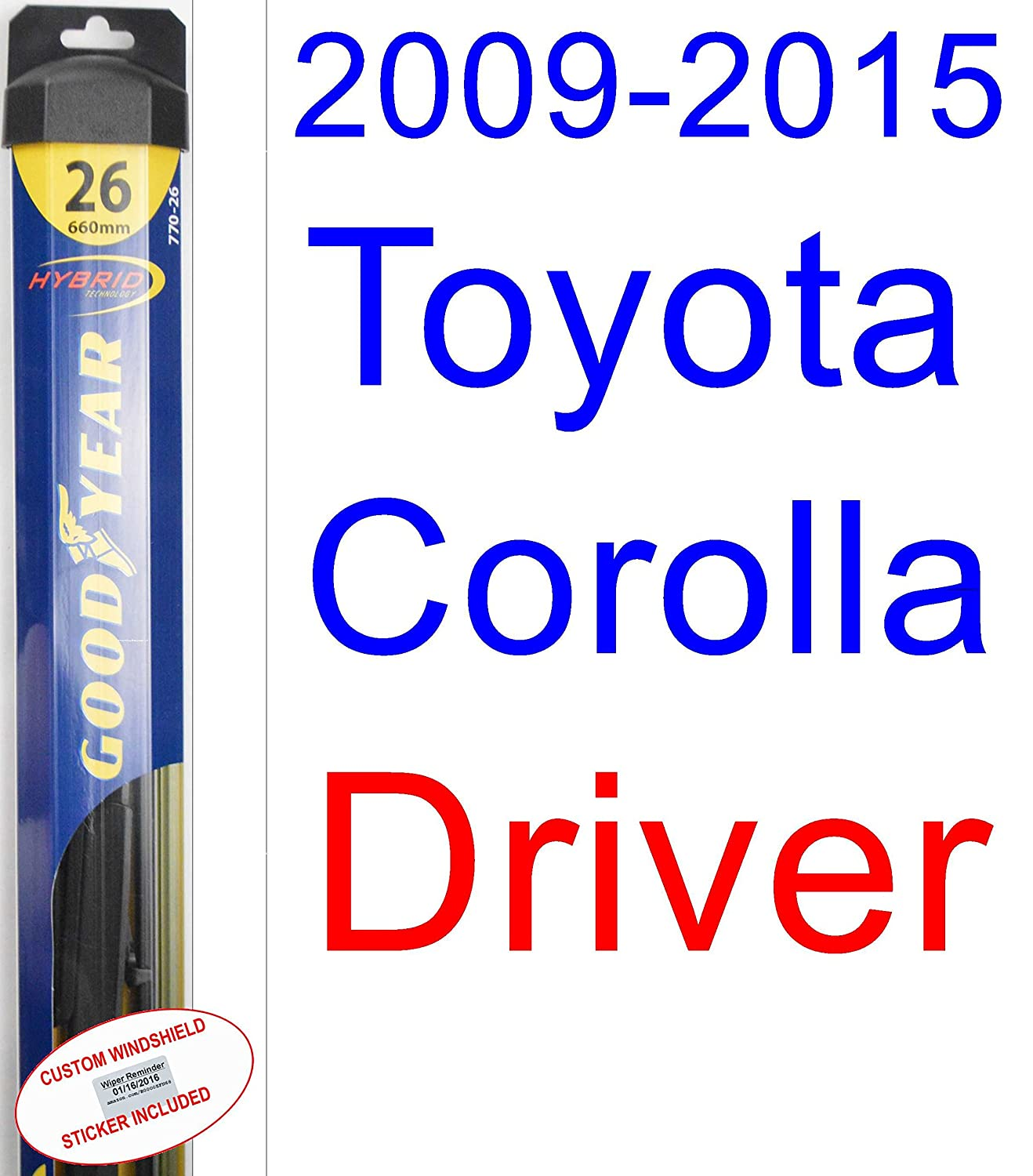 Amazon.com: 2009-2015 Toyota Corolla LE Replacement Wiper Blade Set/Kit (Set of 2 Blades) (Goodyear Wiper Blades-Hybrid) (2010,2011,2012,2013,2014): ...