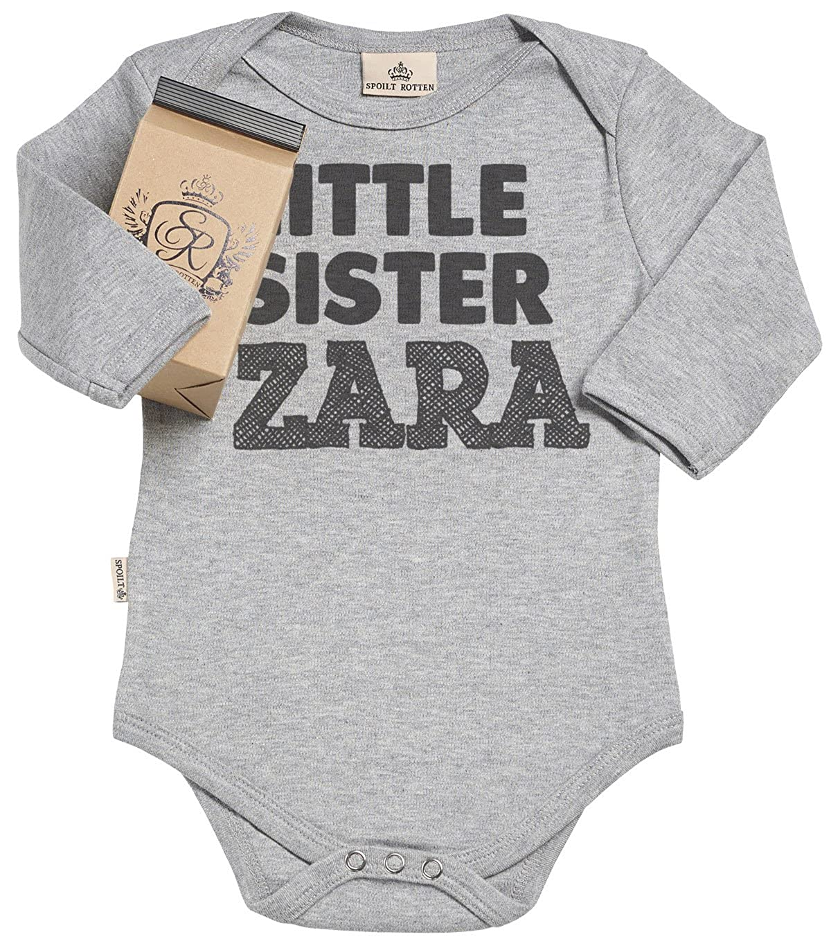 I /'m the little sister Embroidered Baby Romper Babygrow Poison Personalised