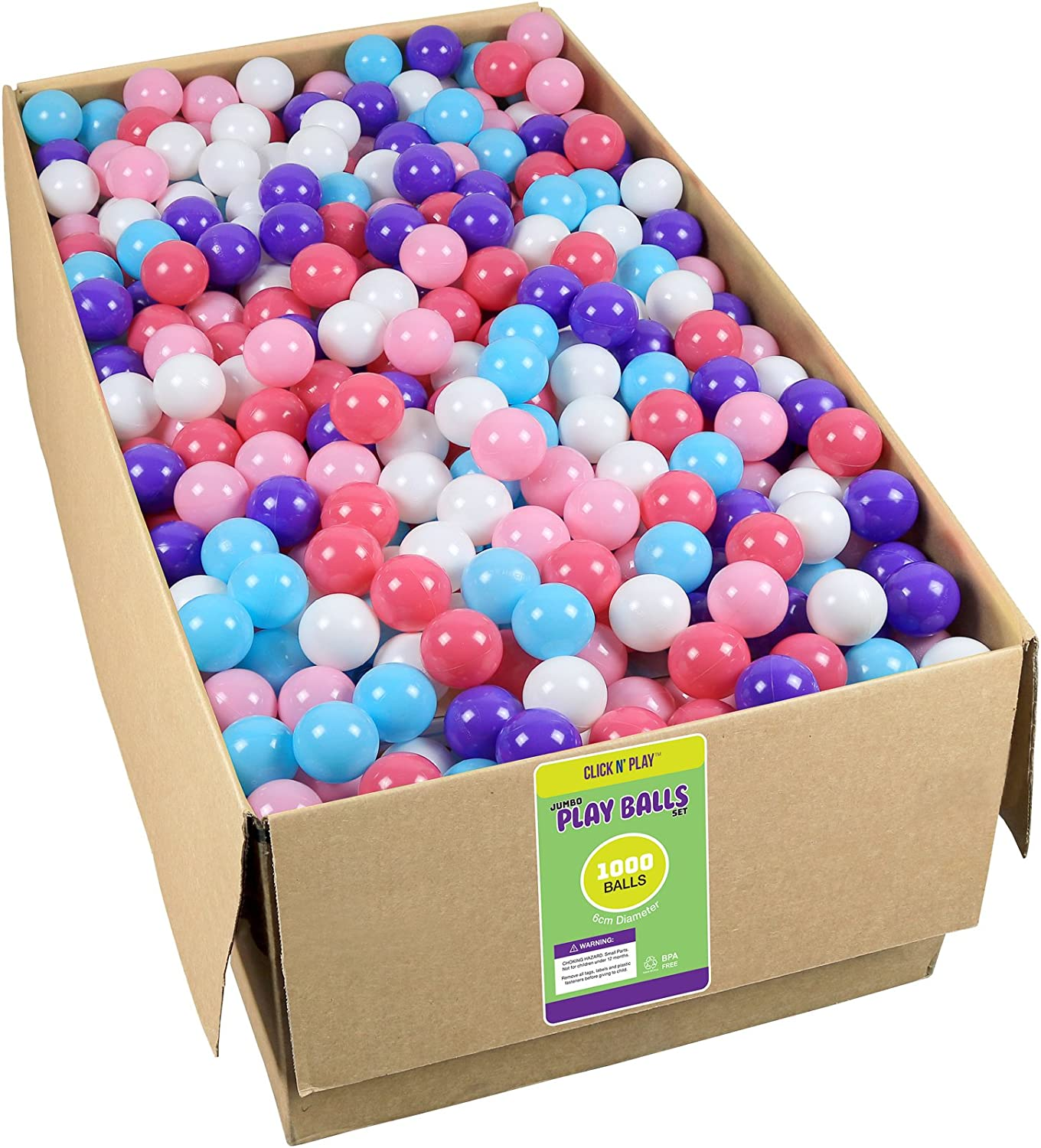 Click N' Play Pack of 100 Phthalate Free BPA Free Crush Proof Plastic Ball, Pit Balls - 6 Bright Colors in Reusable and Durable Storage Mesh Bag with Zipper Homeco CNP0005A