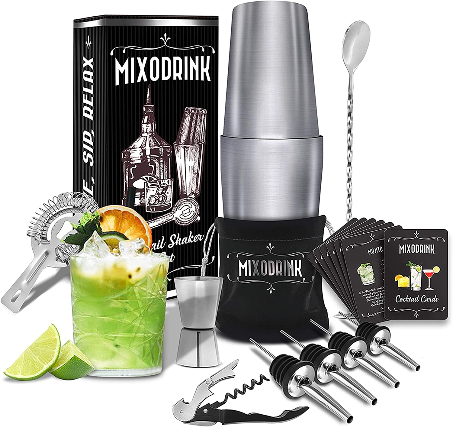Cocktail Shaker Set 28oz Mixodrink - 12 Piece Stainless Steel w/ Drink Mixer Book   Boston Shaker Bar Kit   Mixology Bartender Kit   For Martini, Margarita Mixes, Professional Bar Accessories Included