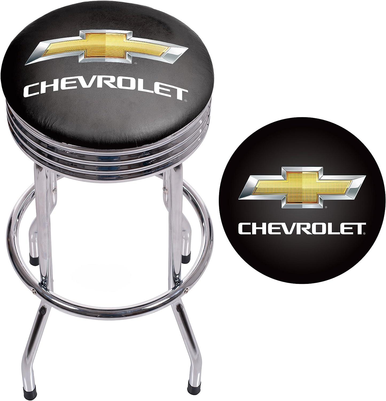 Trademark Gameroom GM1005CH Chevrolet Chrome Ribbed bar Stool
