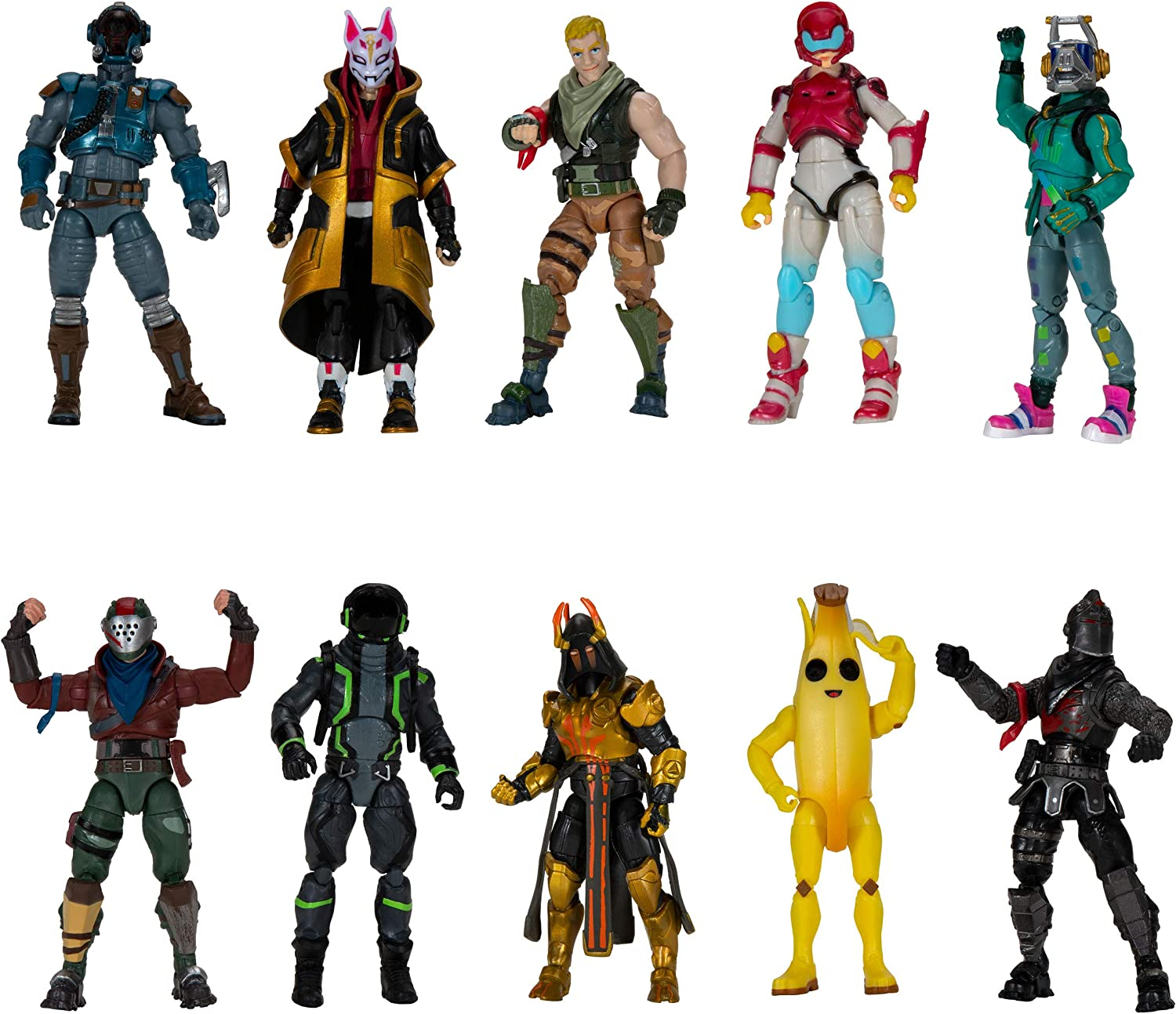 Amazon Com Fortnite The Chapter 1 Collection Ten 4 Action Figures Featuring Recruit Jonesy Black Knight Rust Lord The Visitor Drift Dj Yonder Ice King Gold Peely Rox Eternal Voyager Toys Games