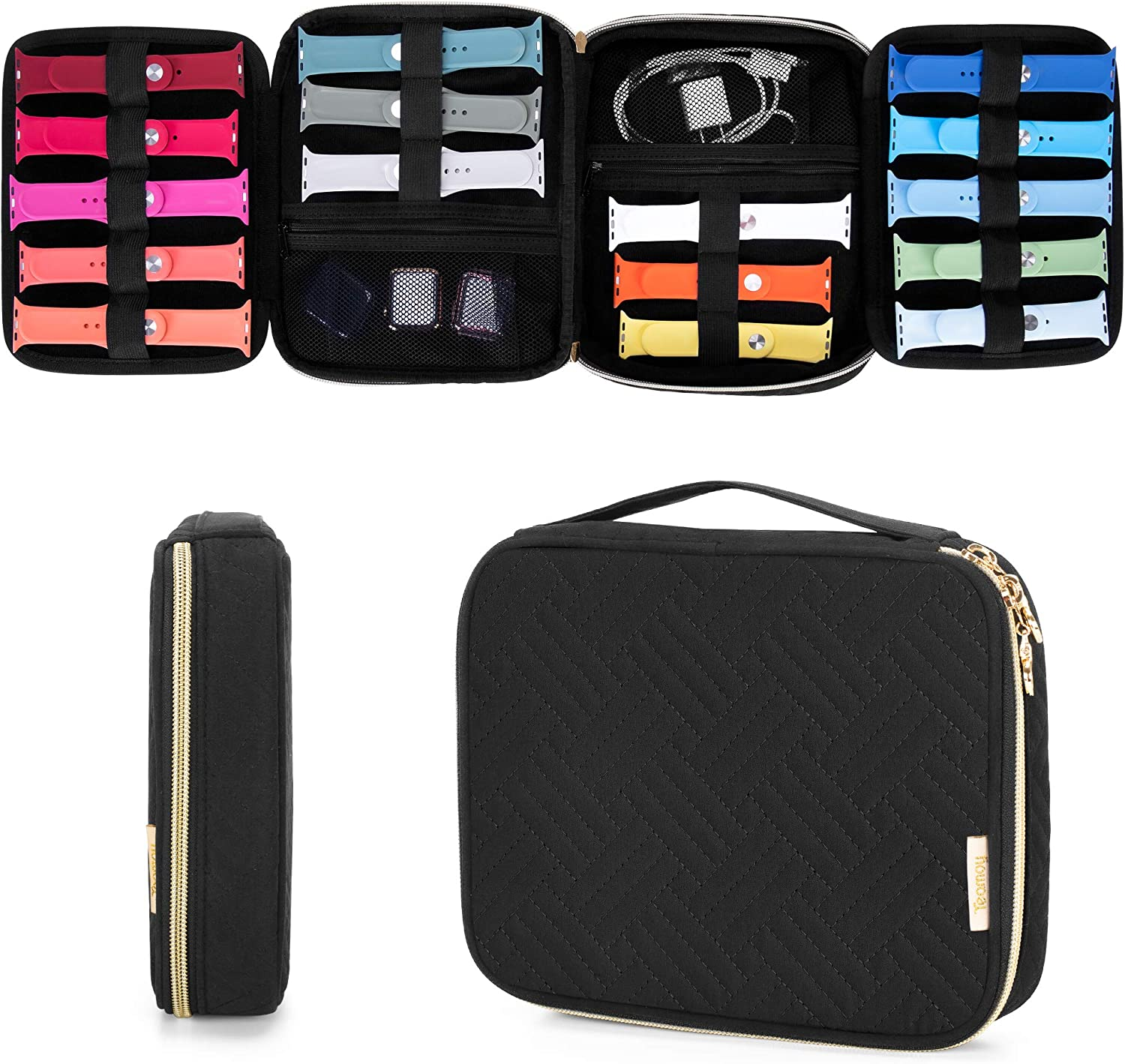 Teamoy Watch Band Storage Case Holds 26 Watch Straps, Travel Organizer Bag Compatible for All Series of Apple Watch Bands and Accessories, Quilted Black