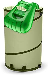 Collapsible 45-Gallon Canvas Garden Waste Bag Bucket Pop-up Reusable Yard Leaf Bag Holder- Heavy Duty Hardened Bottom + Ergonomic Large Leaf Scoop Hand Rakes Garden Trash Bag (45 gl)