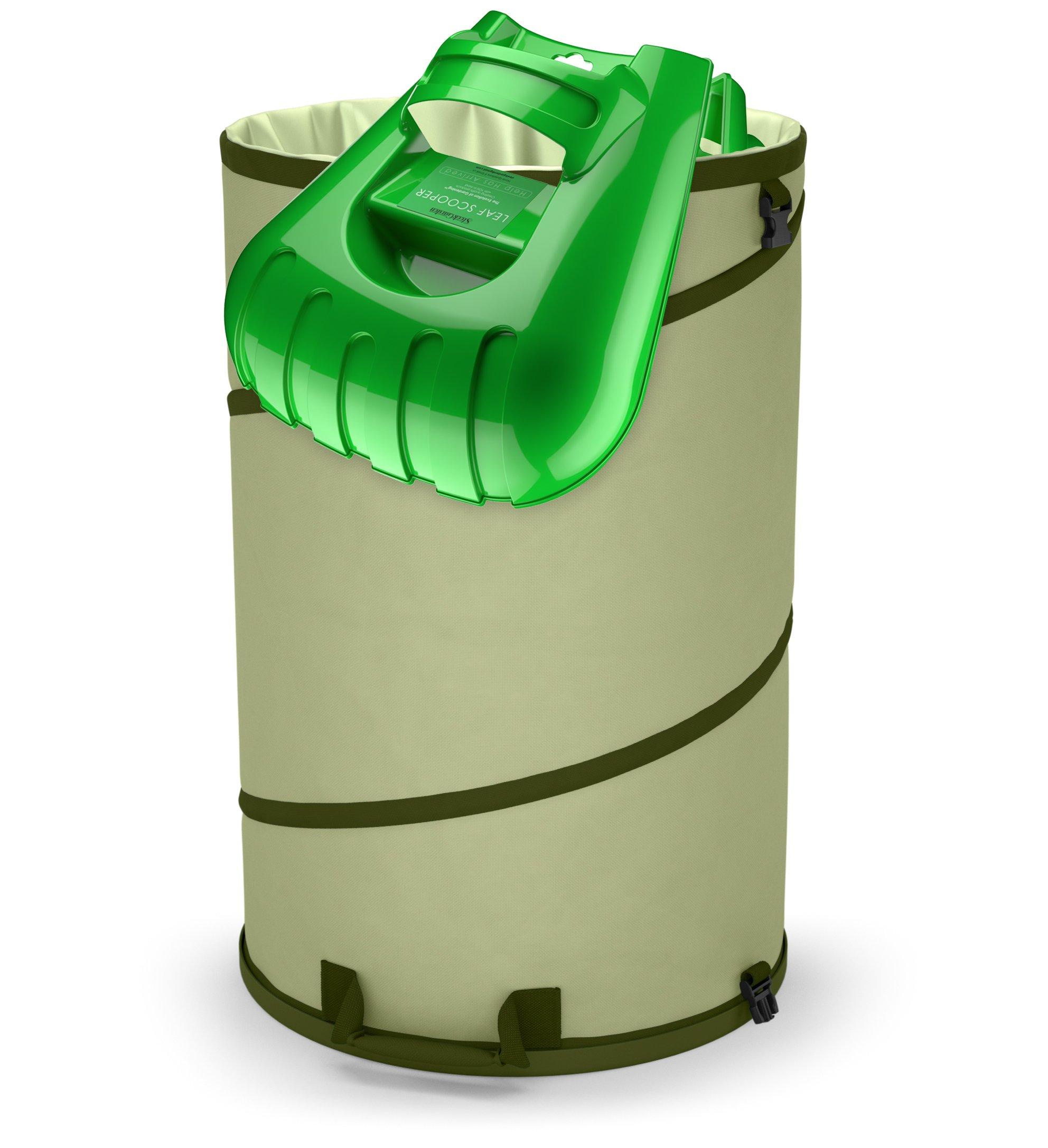 SMART Collapsible 30-Gallon Canvas Garden Waste Bag | Pop-Up Reusable Garden Leaf Bag Holder with Hardened Bottom + Ergonomic Large Leaf Scoop Hand Rakes –Fast Leaf Debris and Yard Waste Removal