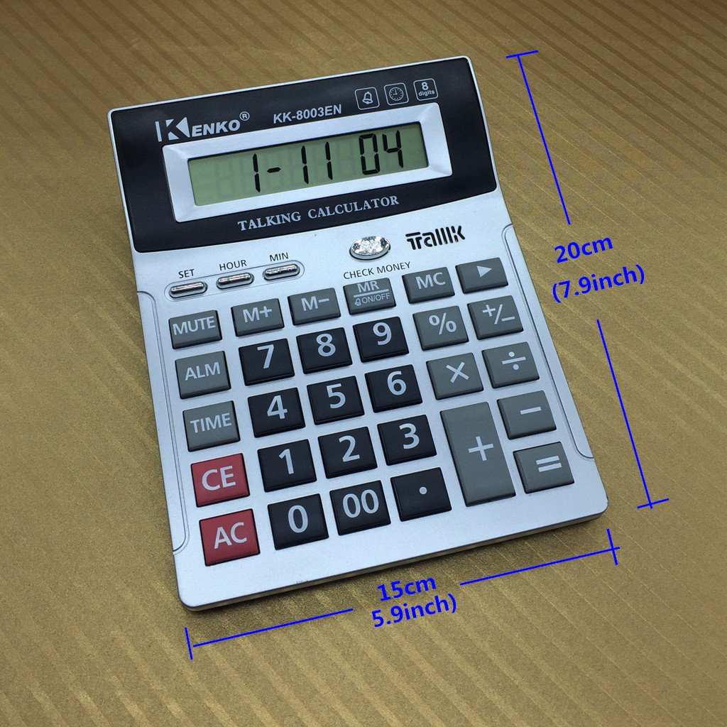 8 Digit English Talking Calculator Alarm, Time Show, Check Money Office Computer VSONE W-N-W 167