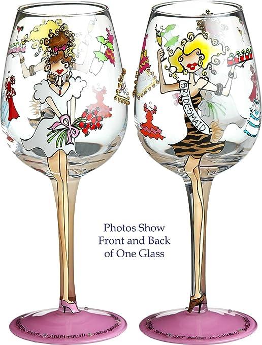 Bottom's Up 15-Ounce Bridesmaid Handpainted Wine Glass