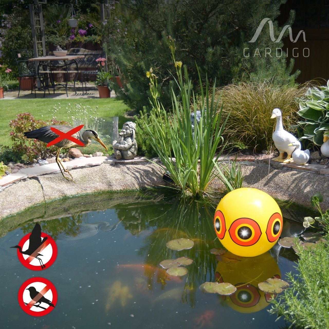 2 Balones con Ojos Espantap/ájaros; Ahuyentador para Espantar Aves Carpinteros Pichones Gorriones Gardigo