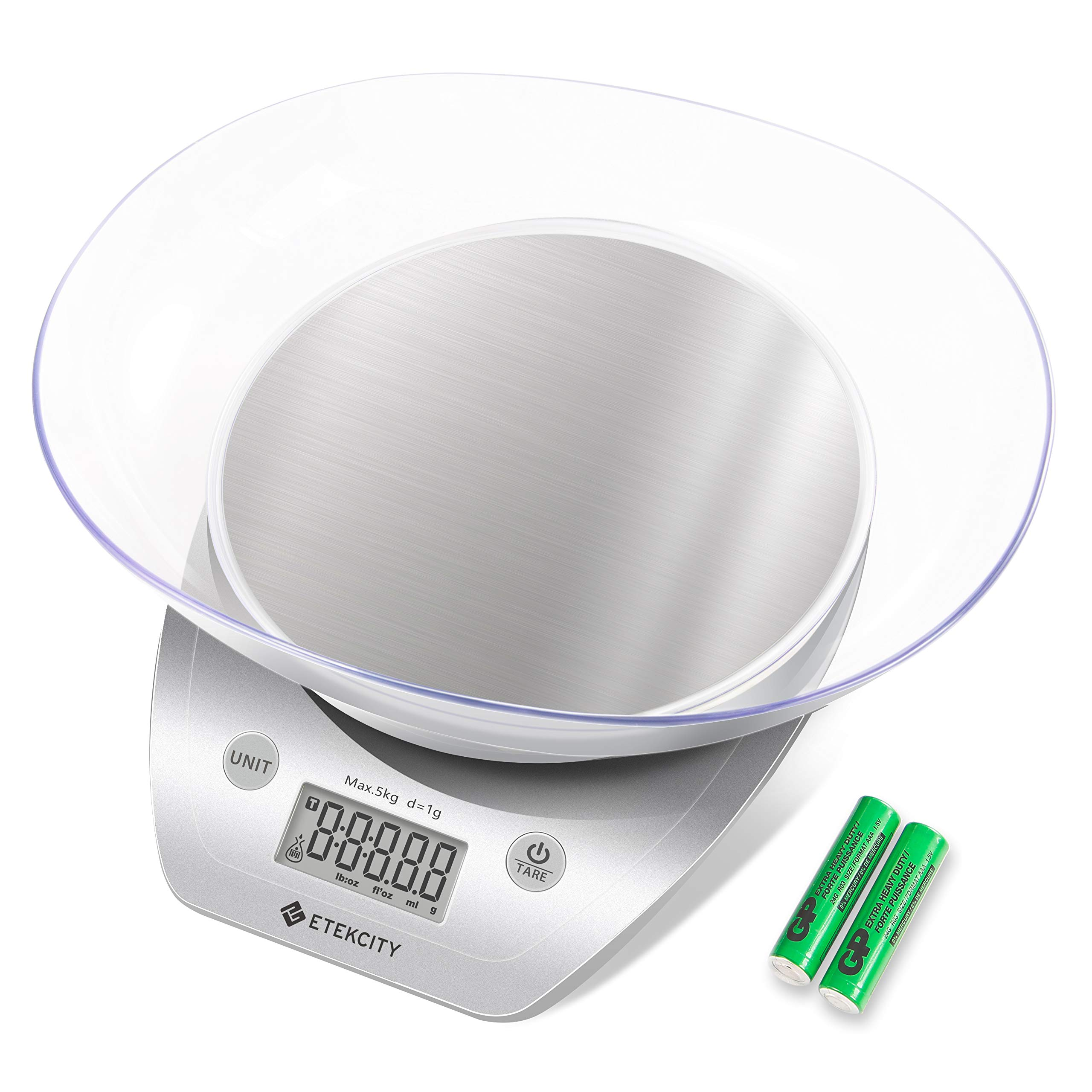 Etekcity Food Kitchen Scales Digital Weight Grams and Oz for Cooking and Baking, Removable Bowl, Stainless Steel, Silver by Etekcity