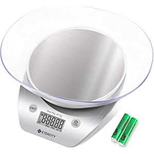 Etekcity Food Kitchen Scale Digital Weight Grams and Oz, Removalble Bowl for Cooking and Baking, Red/Stainless Steel