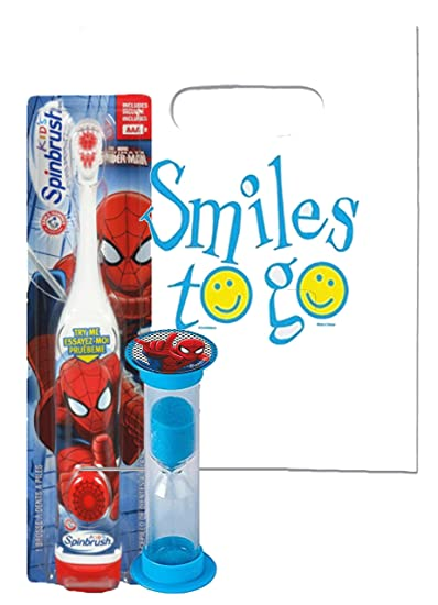 Marvel Spider Man 2pc Bright Smile Oral Hygiene Bundle! Turbo Spin Toothbrush & Brushing Timer