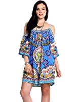 Piece Print Tunic Dress, Blue