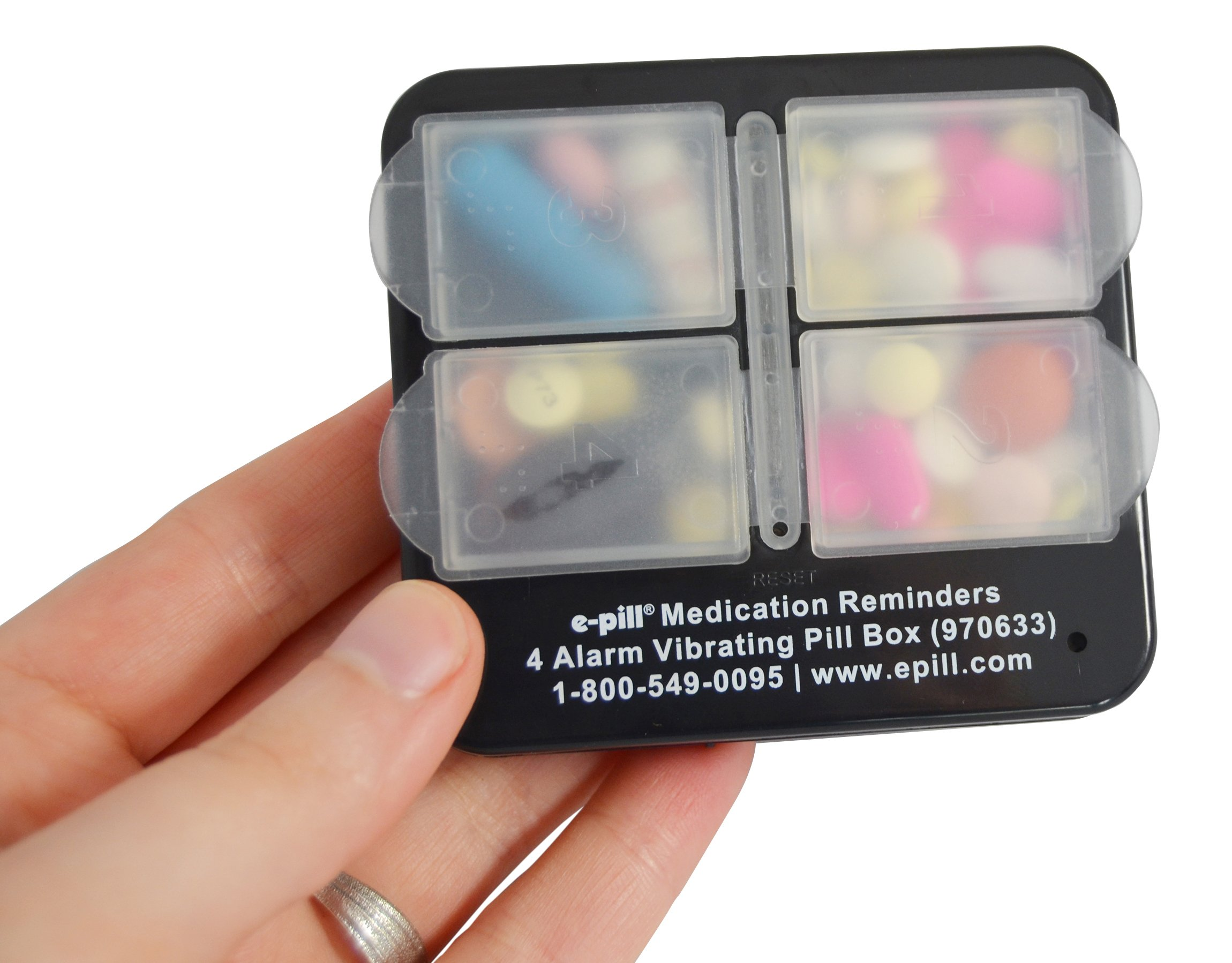 4 Alarm Pill Box Organizer with Vibration Reminder. Pillbox in two color choices (Black) by e-pill Medication Reminders