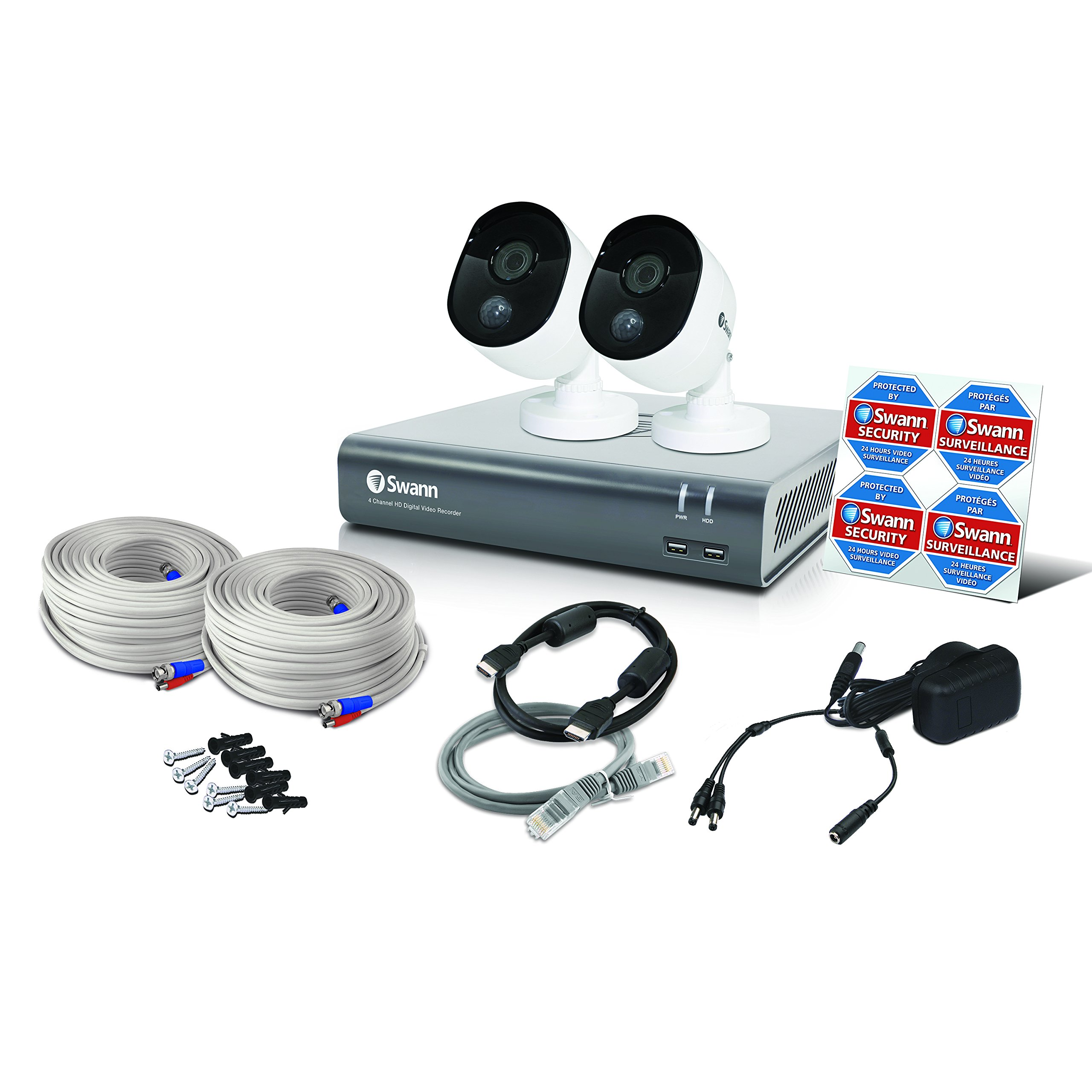Swann 2 Camera 4 Channel 1080p DVR Security System | 1TB HDD, Heat & Motion Sensing + Night Vision by Swann