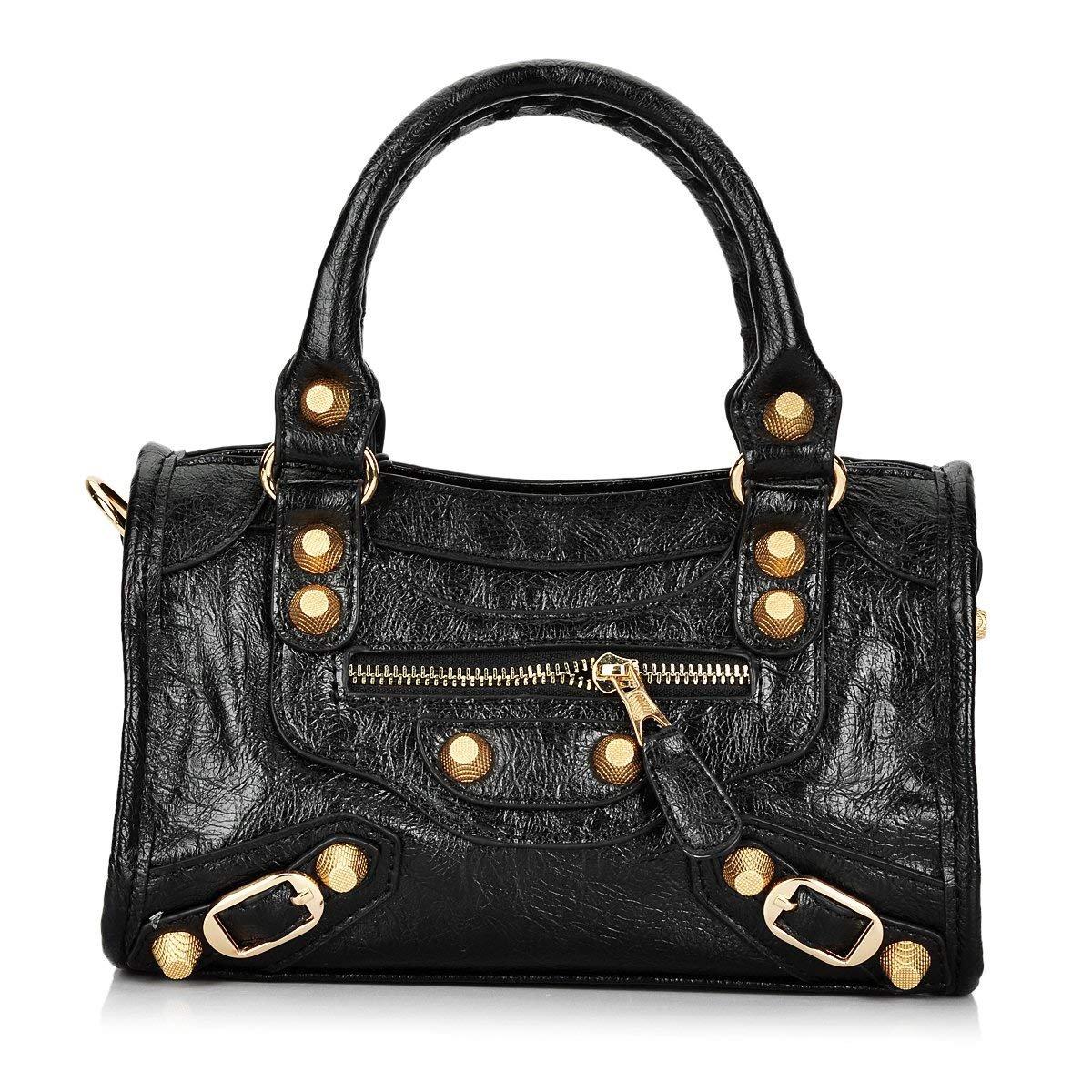 Gold-Tech Women Leather Big Gold Color Studed Motorcycle Bags 38cm Medium Size Shoulder Bag 2 Colors (24cm Black)