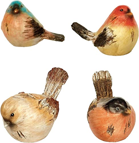Napco Watchful Birds Orange Hues 4.25 x 3 Resin Miniature Garden Figurines, Set of 4