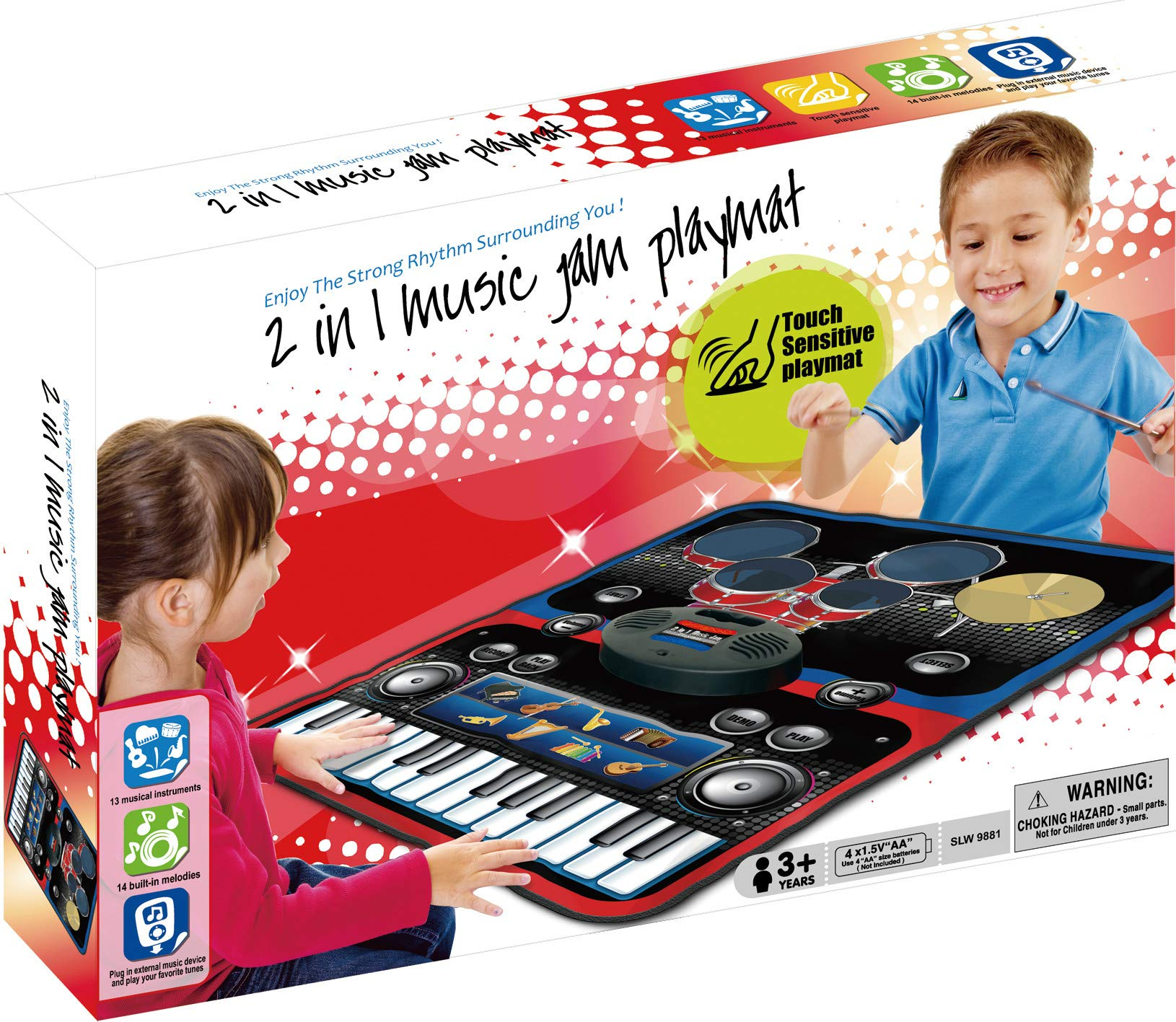 2-in-1 Functional Drum & Piano Foldable Music Mat with 5 Piece Drum, 2 Drum Sticks, 14 Demos, 24 Key Piano Keyboard with 8 Different Recordable Musical Instruments, Powerful Speakers with 3.5mm Aux Co by Toner Depot (Image #7)