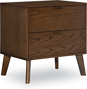 Linon Home Decor Products Franco Two Drawer Nightstand, Walnut