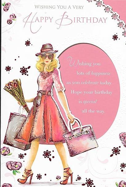Carte Joyeux Anniversaire Femme Woman Courses Avec Fleurs Jolie Inscription 22 9 X 15 2 Cm Dd5 Amazon Fr Fournitures De Bureau